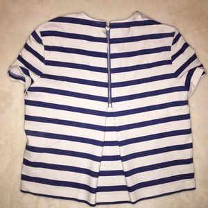 Blue White stripped Zara Blouse Zipper Back